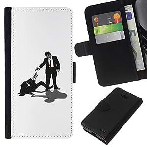 YiPhone /// Tirón de la caja Cartera de cuero con ranuras para tarjetas - Tarantino Pulp Fiction - LG OPTIMUS L90