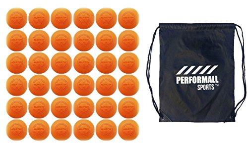 Martin Sports Lax Balls (36-Balls) Lacrosse Balls Orange NCAA/NFHS / SEI/NOCSAE Certified Bundle with 1 Performall Sports Drawstring Bag