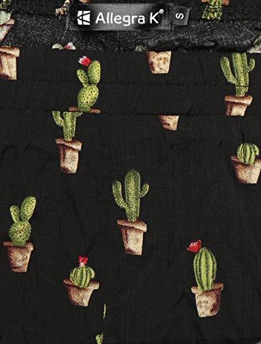 Taille K cactus Pantalon Imprimé Print Femmes Dentelle Élastique Allover Allegra Black qpZSw4ZX