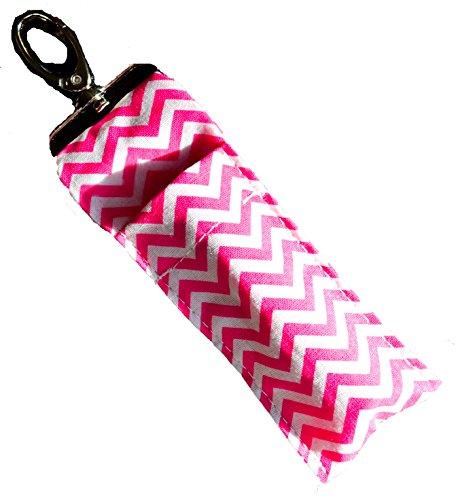 lip-balm-chapstick-keychain-pouch-lanyard-strap-pink-chevron-fob-holder-container