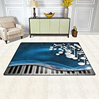 DEYYA Non-slip Area Rugs Home Decor, Hipster Music Notes Floor Mat Living Room Bedroom Carpets Doormats 60 x 39 inches