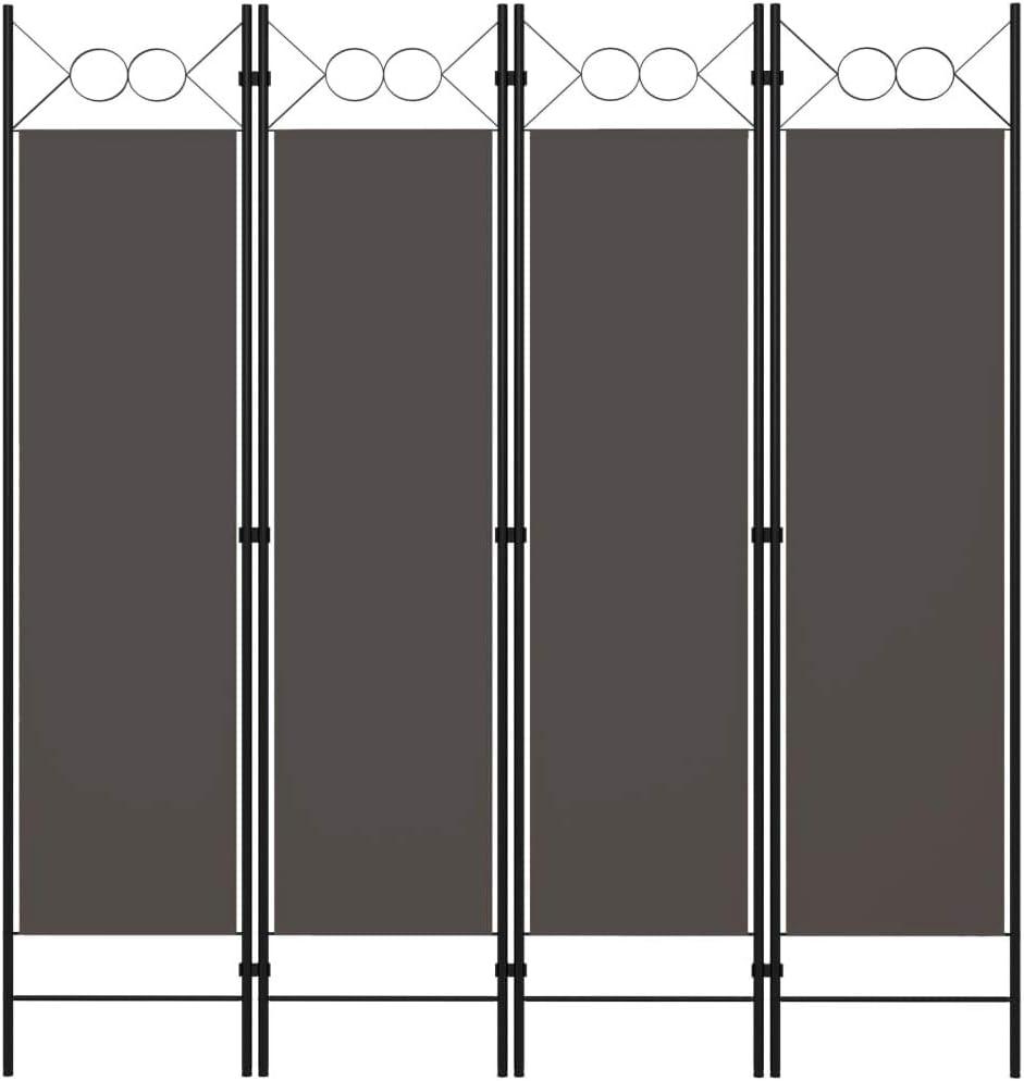 vidaXL Biombo divisor de 4 paneles gris antracita 160x180 cm
