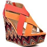 Diba Women's Dig It Wedge Sandal,Orange,9 M US