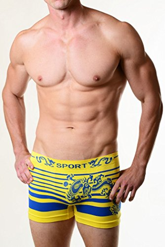 Fashion Mic Men's Basic Casual Seamless Boxer Briefs-Ancient Dragon Print (one size, yellow)