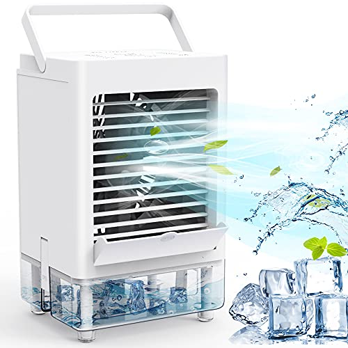 Personal Air Cooler, Portable Air Conditioner Fan with 1/2/4/8H Timer, 5000mAh Rechargeable Battery Operated 3 Wind…