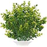 The Bloom Times Artificial Boxwood (Pack of 6),Fake Greenery Foliage Plants with Total 42 Stems for Wedding, Garden, Farmhouse Outdoor Decor in Bulk Wholesale