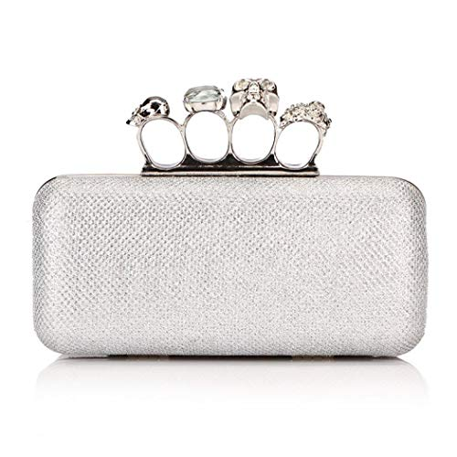 Onorner Rhinestone Handbag Purse Elegant Designer Evening Clutch Purse for Women (Silver 3655)