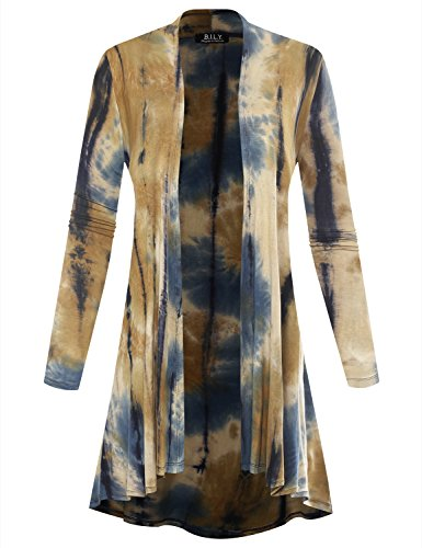 Sweatshirt Jersey Print - BIADANI Women Long Sleeve Classic Lightweight Open Front Jersey Cardigan Multicolor Print Taupe X-Large