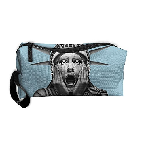 Statue Liberty Clipart (Portable Travel Storage Bags Funny Statue Of Liberty Clutch Wallets Pouch Coin Purse Zipper Holder Pencil Bag,kits Medicine And Makeup Bags)
