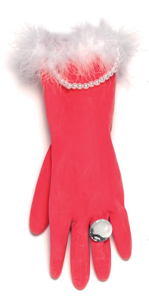 Spülhandschuhe in rot und mit Perlen