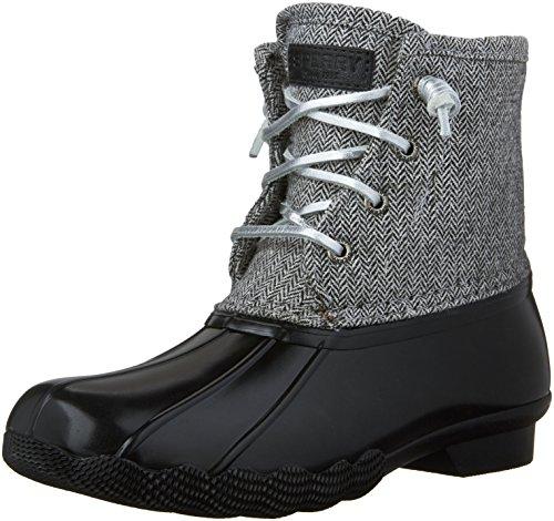 Sperry Saltwater Boot (Little Kid/Big Kid), Black Herringbone, 6 M US Big Kid (Boots Shoes For Kids)