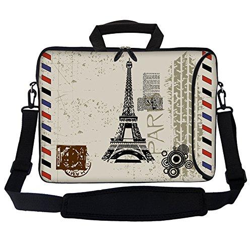 Paris Laptop Carrying Backpack - Meffort Inc 17 17.3 inch Neoprene Laptop Bag Sleeve with Extra Side Pocket, Soft Carrying Handle & Removable Shoulder Strap for 16
