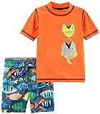 Carter's Big Boys' Rashguard Set, Orange Fish, 7