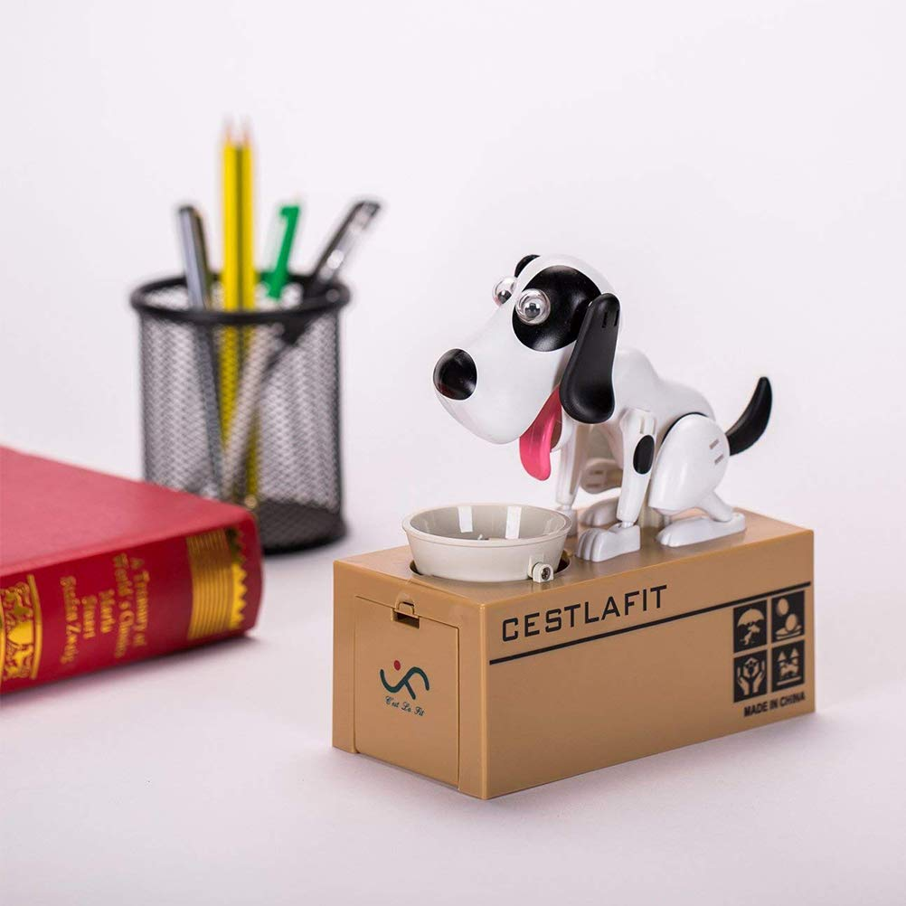 Dog Wekity Hungry Dog Piggy Bank Cute Dogs Steals Coins Like Magic Coin Munching Toy Money Box Birthday Gift for Kids