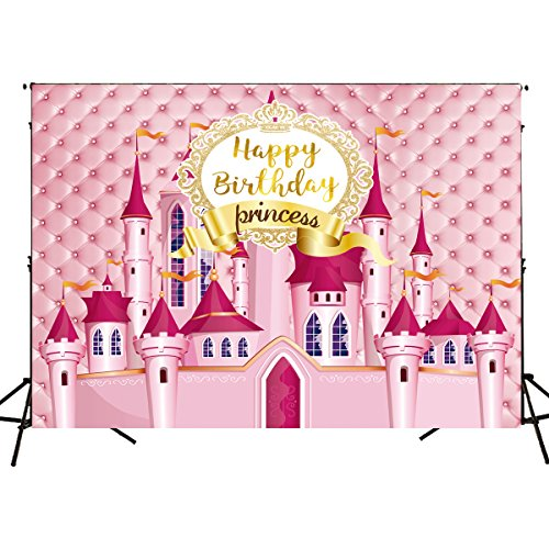 Funnytree 7X5FT Royal Pink Castle Princess Birthday Party Backdrop Baby Girl Carousel Tufted Photography Background Photo Booth Banner Decorations -
