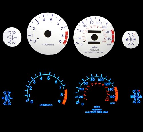 Blue Indiglo Glow White Gauges For 95-99 Eclipse Turbo 2.0