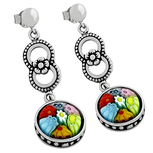 - Round Multicolor Murano Millefiori Glass Flower Beads Design Earrings Rhodium Plated 925 Sterling Silver