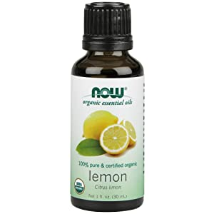 NOW Essential Oils, Organic Lemon Oil, Cheerful Aromatherapy Scent, Cold Pressed, 100% Pure, Vegan, 1-Ounce