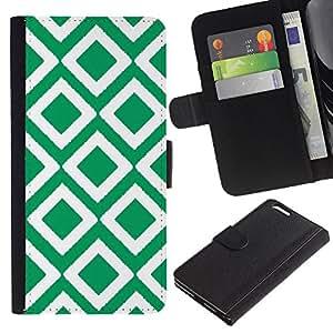 Planetar® Modelo colorido cuero carpeta tirón caso cubierta piel Holster Funda protección Para Apple (5.5 inches!!!) iPhone 6+ Plus ( Checkered Vintage Wallpaper Pattern Green )