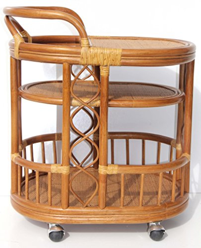 Moving Serving Cart Bar Table Natural Rattan Wicker Exclusive Handmade ECO, Cognac by SunBear Furniture (Image #3)'