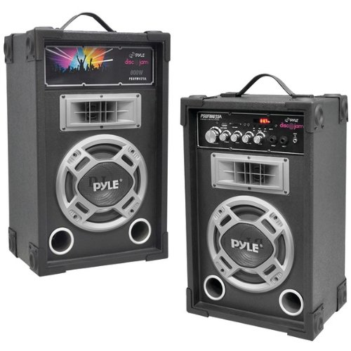 Pyle Dual 800 Watt Disco Jam Powered Two-Way PA Speaker System w/ USB/SD Card Readers, FM Radio, 3.5 mm AUX (800 Audio Interconnect)
