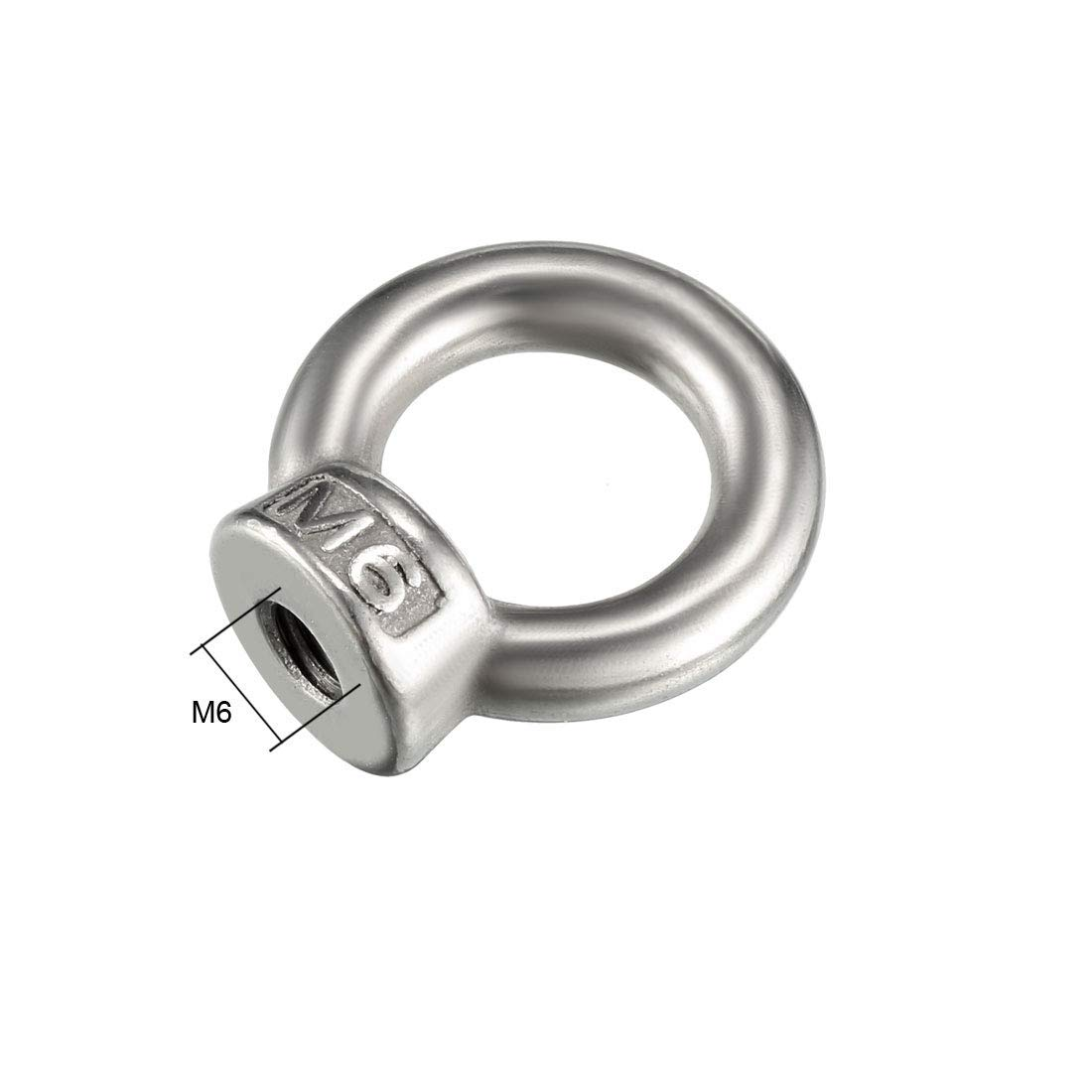 M6 Female Thread 304 Stainless Steel Eye Lifting Ring Nuts 5pcs