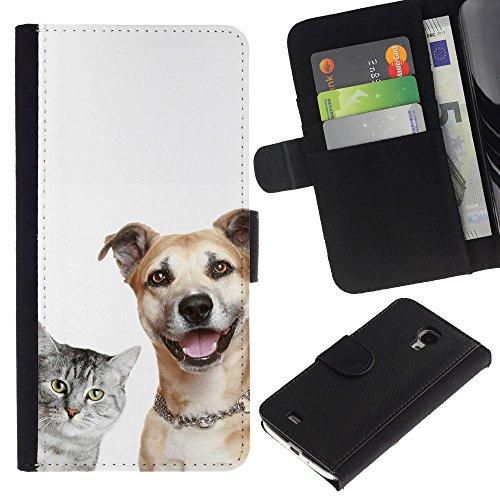 EuroCase - Samsung Galaxy S4 Mini i9190 MINI VERSION! - cat dog shorthair friendly grey brown - Cuero PU Delgado caso cubierta Shell Armor Funda Case Cover