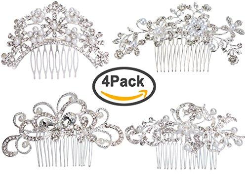 Pack of 4 Bridal Wedding Hair Comb Crystal Rhinestones Pearls Women Hair Side Combs Bridal Head Pin Headpiece