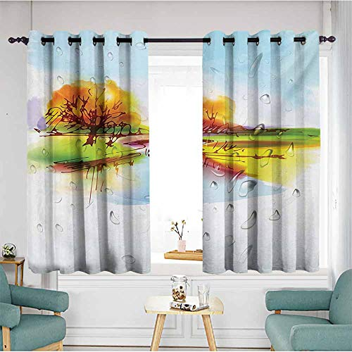 AndyTours Thermal Insulating Blackout Curtains,Landscape Vibrant Fall Landscape in Pastoral Nature Reflections Meadow Field Rural Scene,Insulated with Grommet Curtains for Bedroom,W63x63L,Multicolor