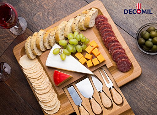 DECOMIL- Cheese Cutting and Service Board with Knife by DECOMIL