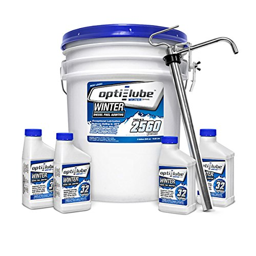 Opti-Lube Winter Formula Diesel Fuel Additive: 5 Gallon Pail with Heavy Duty Pail Pump, 4 Empty 8oz Bottles, Treats up to 2,560 Gallons by Opti-Lube