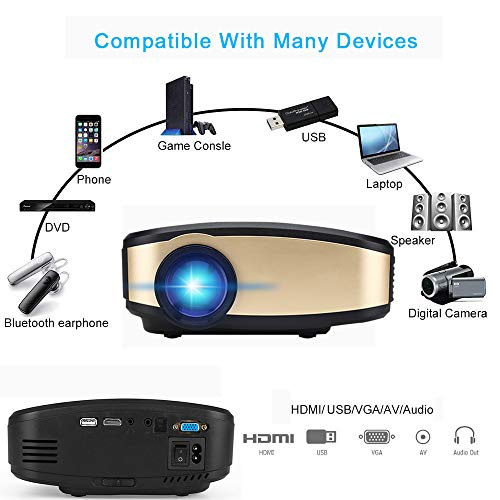 Projector DIWUER Wireless WiFi Projector (2018 Upgraded) Portable Video LED Projector Full HD 1080P Home Theater Projector Compatible with HDMI USB VGA AV Input for iPhone PC Laptop by DIWUER (Image #2)