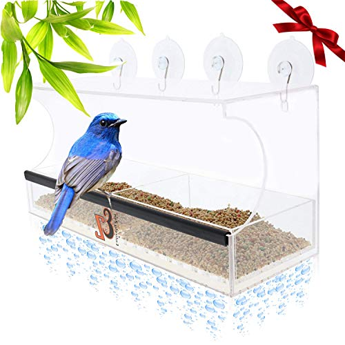 (Superior Window Bird Feeder Has 2 Way Mirror Film, Super Strong Suction Cups, Upgraded 2019 Design For 100% Clear Wild Bird Viewing, Raised Seed Tray For Fresher Food, Great For ALL Ages!)
