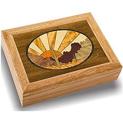 MarqART Desert Sunset Wood Art Trinket Box & Gift - Handmade USA - Unmatched Quality - Unique, No Two are the Same - Original Work of Wood Art (#2118 Desert Sunset 6x8x2)