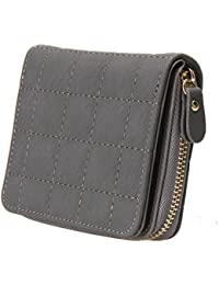 Women Plaid PU Leather Bifold Short Small Wallet Purse