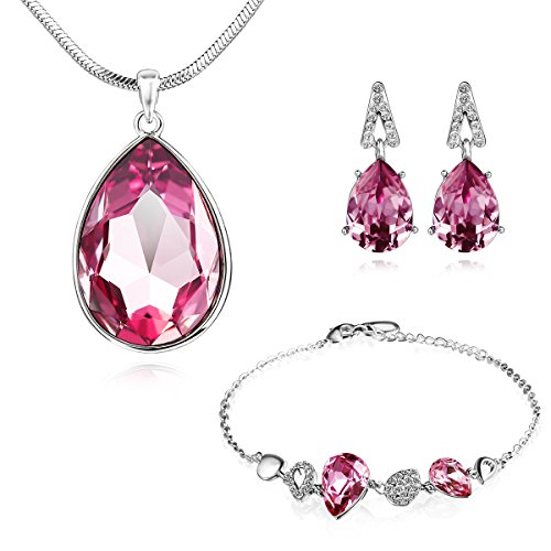 """SYLVICA Jewelry Set, """"Angel Tear"""" Teardrop Pendant Necklace, Bracelet Bangle Stud Earrings Jewelry for Women, Made with Swarovski Crystal, Ideal Gift for Mother, ()"""