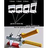 Anti Lippage Tile Leveling System Kit [100 Wedges, 200 Spacer Clips and 1 Plier Tool Gun] (1.5 MM Spacer Clips)