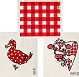 Swedish Dishcloth Cleaning Home Kitchen Bathroom Windows Gingham Red, Cow, and Mama Duck (Set of 3)