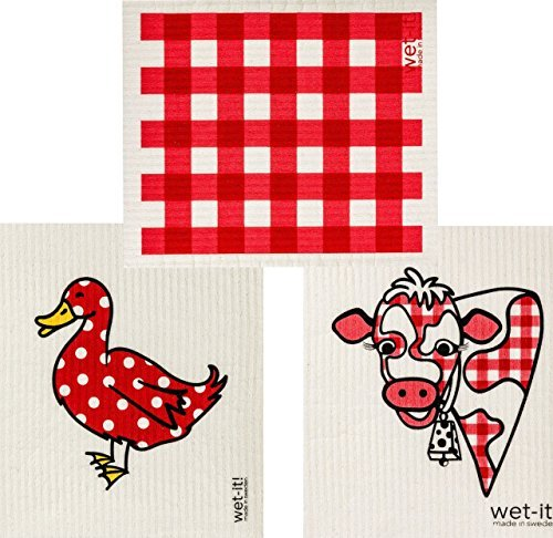 Swedish Dishcloth Cleaning Home Kitchen Bathroom Windows Gingham Red, Cow, and Mama Duck (Set of 3) by Wet-It (Image #1)