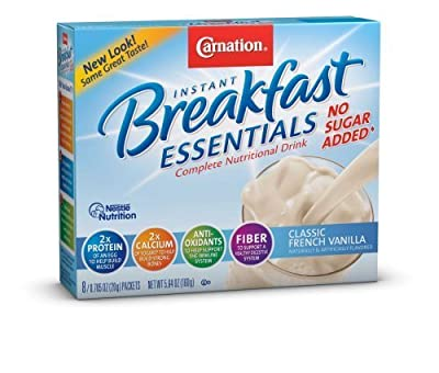 Carnation Instant Breakfast Essentials, Classic French Vanilla, No Sugar Added, 8-Count/0.705 Packets (Pack of 4) by Carnation Breakfast Essentials