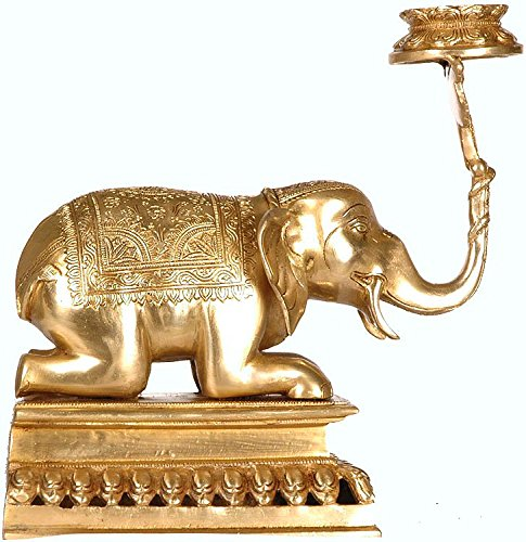Exotic India Elephant Lifting Lotus Lamp - Brass Sculpture - Color Natural Brass Color -