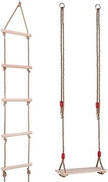 Sharplace Juguete de Asiento de Columpio Colgante con Escalera de Cuerda Juego de Parque Patio al Aire Libre para Niños: Amazon.es: Juguetes y juegos