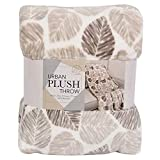 "Life Confort Urban Plush Throw Polyester 60""x70"" Large All Season Blanket for Bed or Couch (Tan Leaf)"