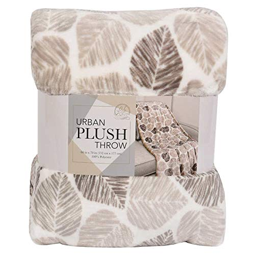 """Life Confort Urban Plush Throw Polyester 60""""x70"""" Large All Season Blanket for Bed or Couch (Tan Leaf)"""