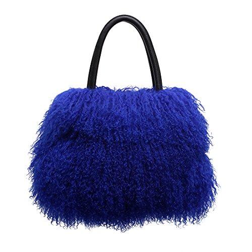URSFUR Womens Multicolored Mongolian Lamb Fur Handbag Girls Winter Shoulder Tote Bags blue