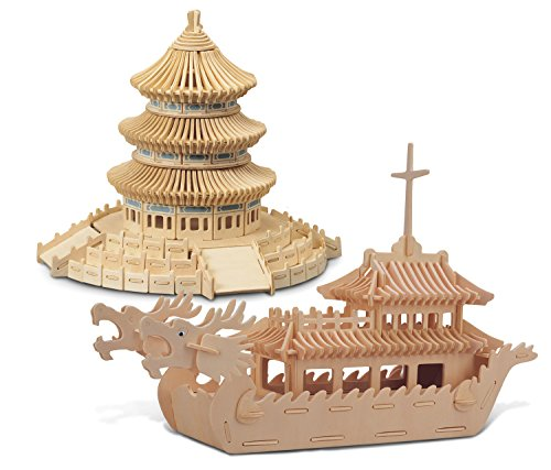 - Puzzled Dragon Boat and Temple of Heaven Wooden 3D Puzzle Construction Kit