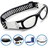 PONOSOON Sports Goggles Glasses for Kids for Basketball Football Volleyball 1812(Black)