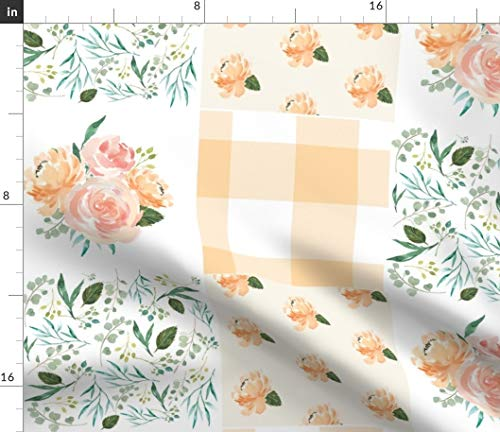 Spring Picnic Cheater Quilt Fabric - Peach-4 Gingham Floral Print on Fabric by The Yard - Velvet for Upholstery Home Decor Bottomweight Apparel