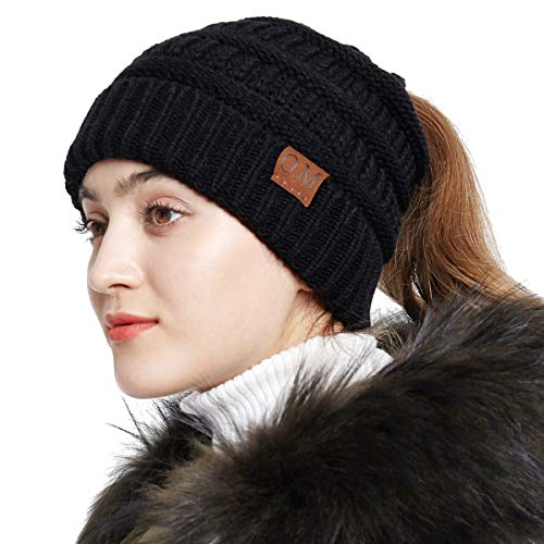 01ad917a5ed86 Bodvera Women s Ponytail Messy Bun Cotton Beanie Winter Warm Stretch Cable  Hat Thick Knit Cuff Skull ...