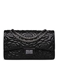 Ainifeel Women's Quilted Flower Genuine Leather Shoulder Bag with Chain Strap Purse (Large, Black)